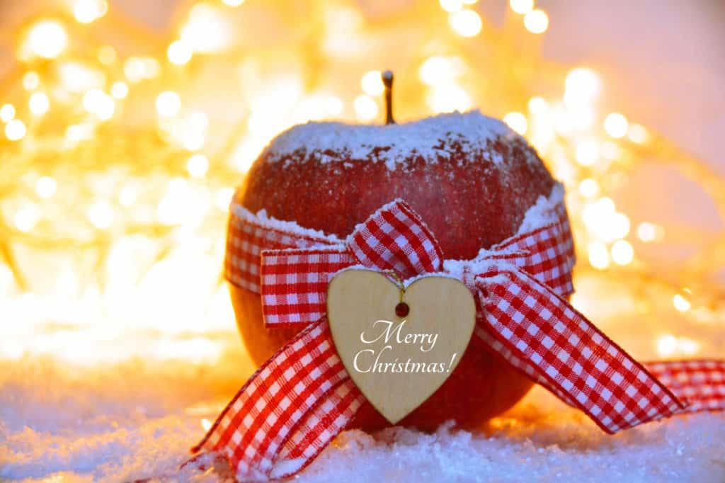 """Apfel mit rot karierter Stoffschleife und kleinem Holzherz mit der Aufschrift """"Merry Christmas"""""""