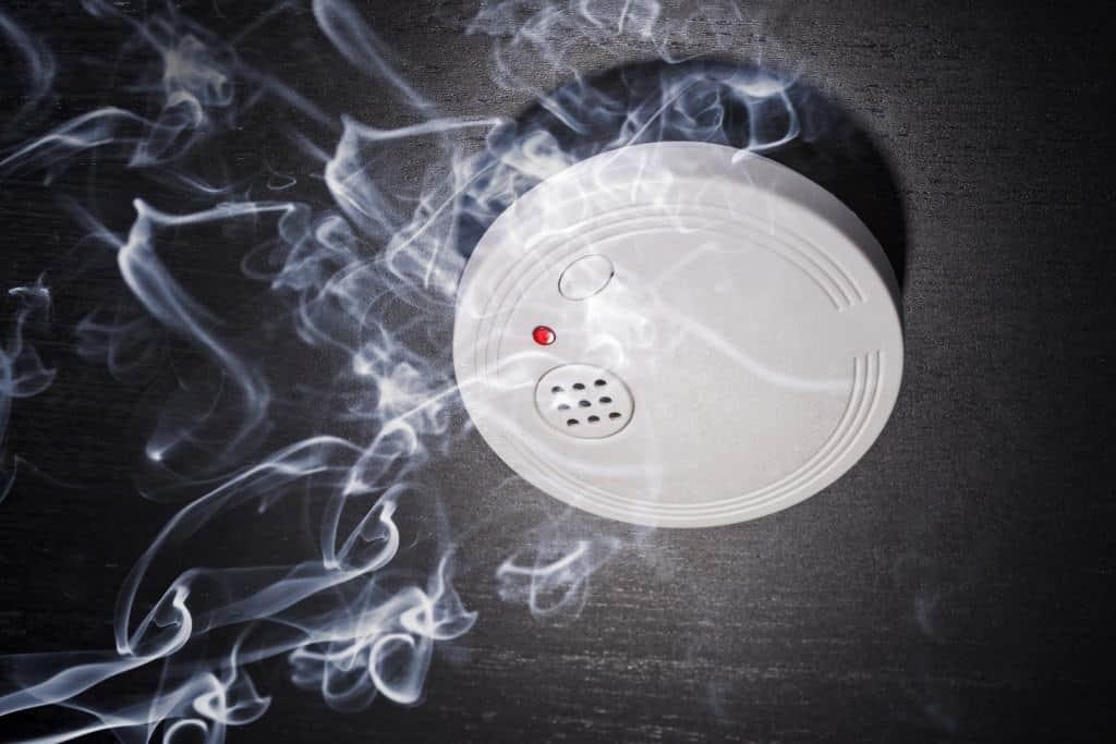 Ein weißer Rauchmelder an der Zimmerdecke registriert aufsteigenden Rauch.