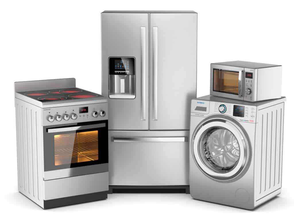 Herd, Kühlschrank, Waschmaschine, Mikrowelle - moderne Elektrogeräte sparen Strom.