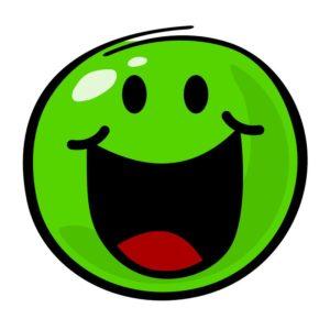 Aufkleber: lachender grüner Smiley
