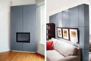 Bild links: eine vollfächige Wandverkleidung für den Kamin aus Zink sieht sehr elegant aus. Bild rechts: Aus Zink lassen sich Raumteiler realisieren, die Wohn- und Essbereich strukturieren.