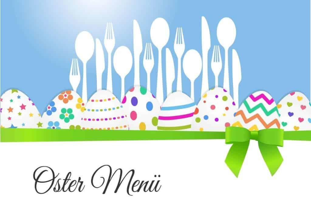 Menükarte zu Ostern mit bunter Grafik: hellblauer Hintergrund, weißes Besteck und farbige Ostereier.
