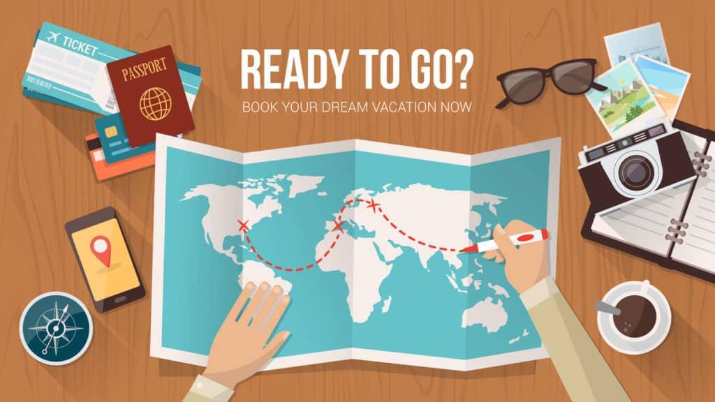Apps unterstützen die Urlaubsplanung. Grafik: Weltkarte, Kompass, Tickets, reisepass, Sonnebrille, Terminplaner und Postkarte auf einem Schreibtisch. Ready to go? Book your Dream Vacation now.