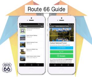 "iPhnoe Abbildung mit der App ""Route 66 Guide""."