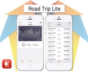 Apps für den Urlaub: iPhone Abbildungen mit der Road Trip Lite App.
