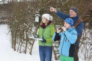Vögel im Garten: Familie beobachtet und zählt Wintervögel.