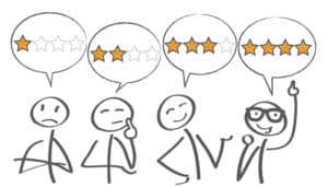 Verschiedene Comicmännchen, die unterschiedliche Job-Bewertungen anhand von Sternen abgeben.