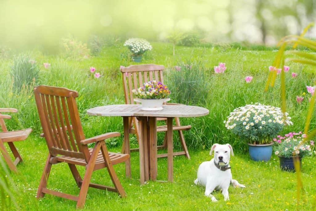 Gartenmöbel aus Holz im eigenen grünen Idyll ermöglichen naturnahe Entspannung zuhause.