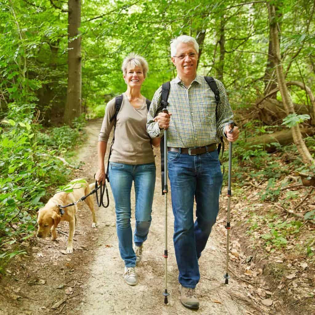 Zwei Senioren wandern mit Hund im Wald (Wandertipps für Anfänger)
