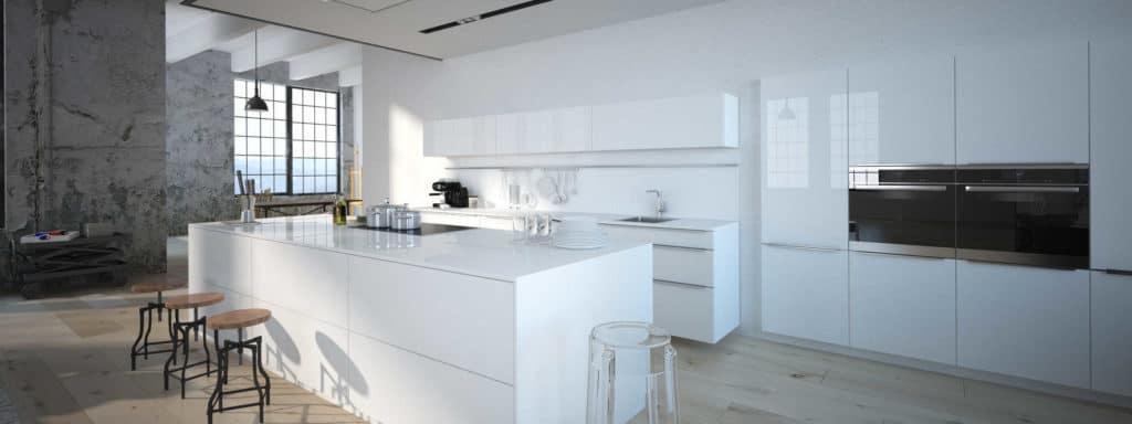 Weiße Küche mit glatten Oberflächen in einem Loft. (gemütlich minimalistisch wohnen)