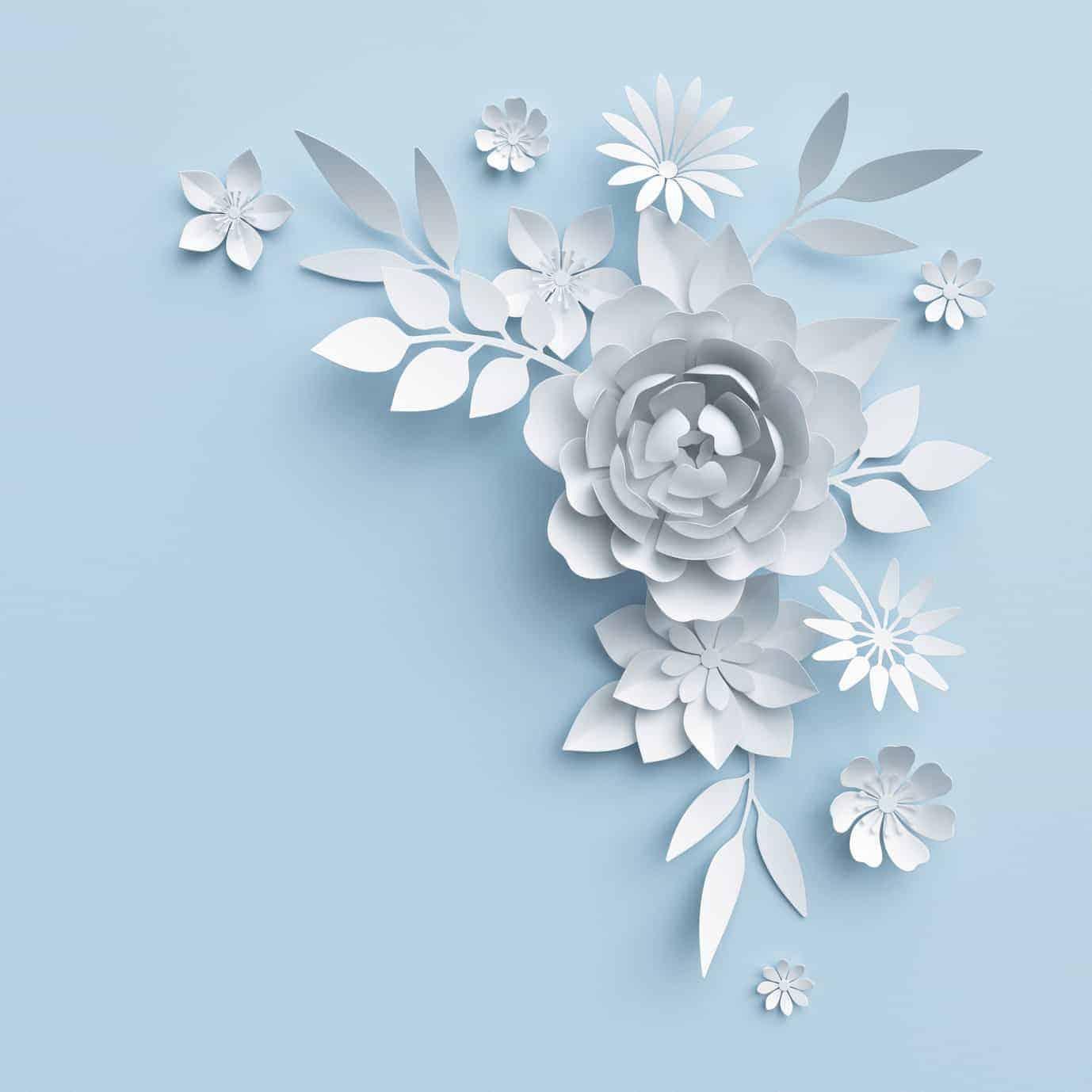 Weiße Papierblumen Auf Blauer Wand (langweilige Wände)