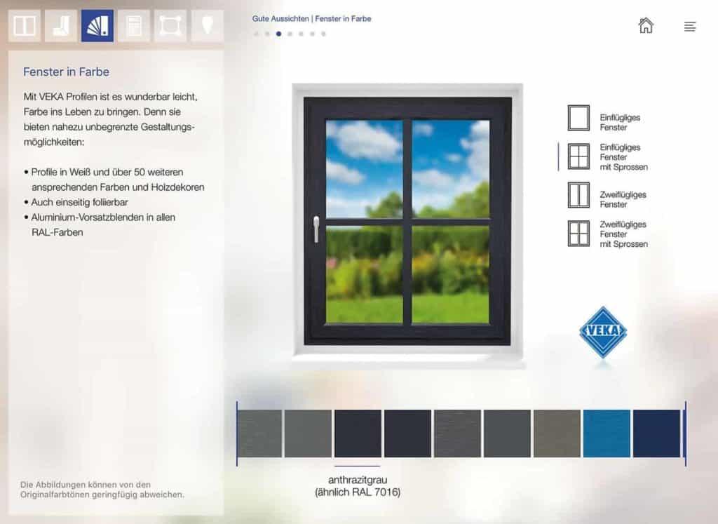 Farbige Fensterprofile-App – Gestaltungsmöglichkeit als eyecatcher fürs Haus.