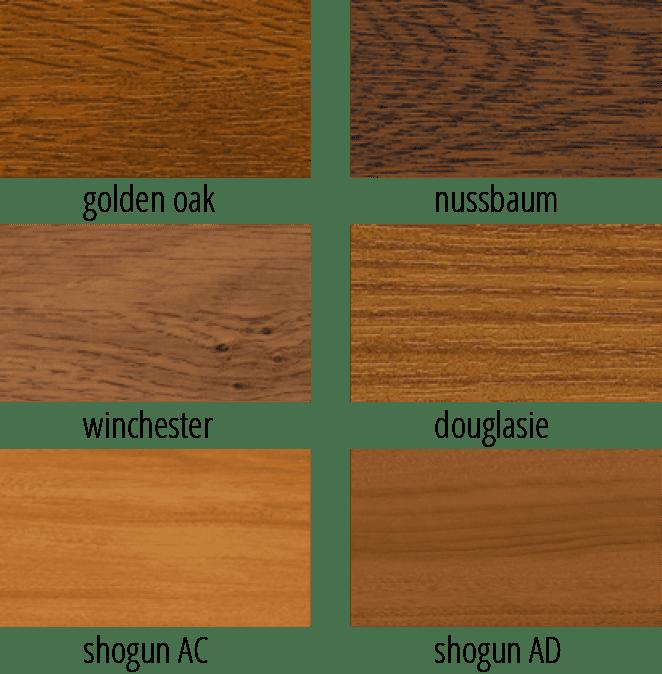 Darstellung von sechs verschiedenen Holzarten zur Gestaltung von Fensterprofilen