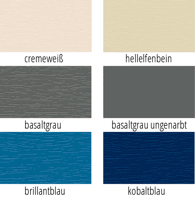 Je zwei Beigetöne, zwei Grautöne und zwei Blautöne als Möglichkeiten zur farbigen Gestaltung von Fensterprofilen in einer Kachelansicht dargestellt