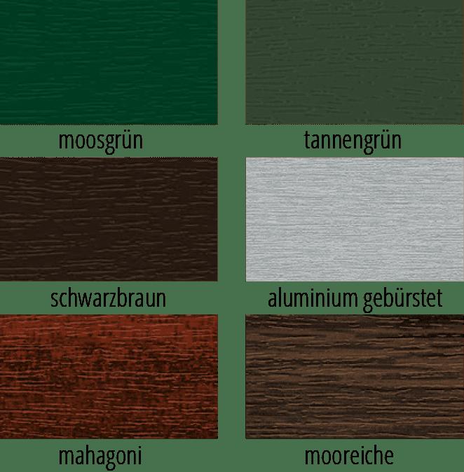 Grüntone und dunkle Holztöne in einer Übersicht möglicher farbiger Fensterprofile