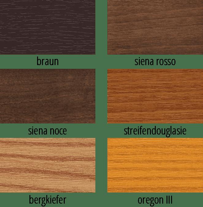 Farbige Fensterprofile in klassischen Holztönen in einer Übersicht dargestellt