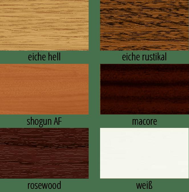 Varianten verschiedener Holzmuster und Lasierungen für Fensterprofile