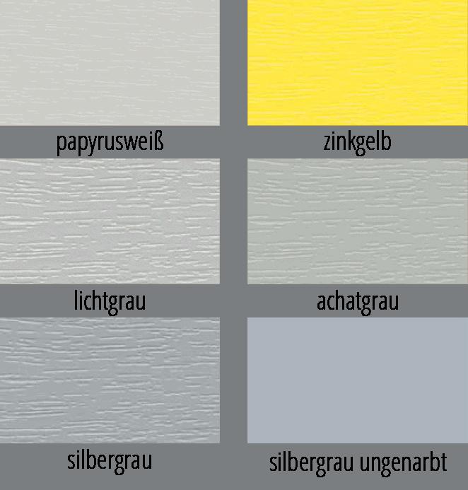 Varianten verschiedener Grautöne für Fensterprofile in einer Übersicht dargestellt