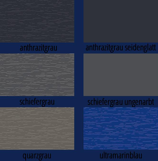 Darstellung von sechs verschiedenen Farben für Fensterprofile, darunter mehrere Grautöne und ein Blau
