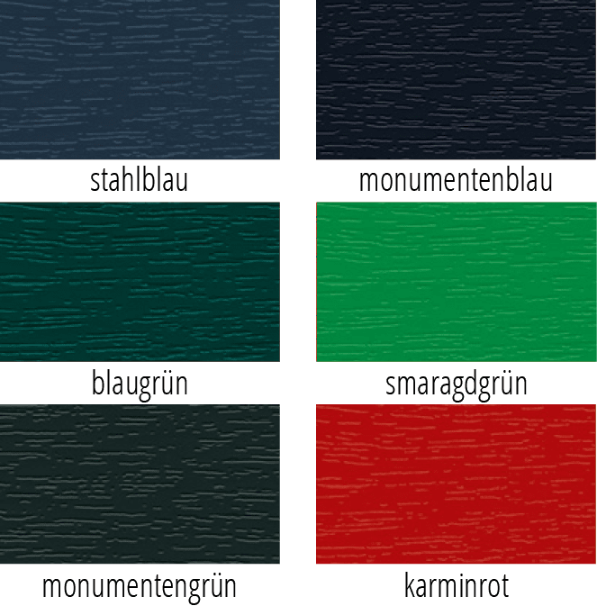 Kachelansicht von sechs verscheidenen farbigen Fensterprofilen