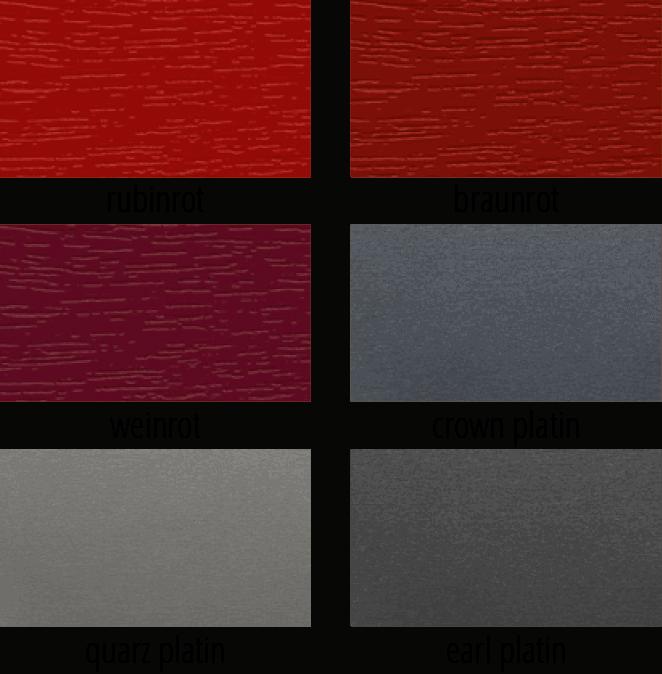 Rote Fensterprofilmöglichkeiten, dargestellt in einer gekachelten Übersicht